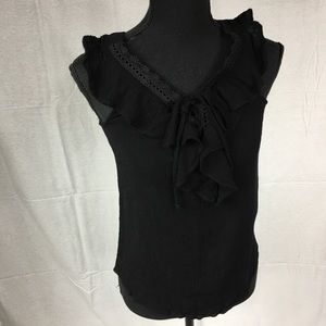 By & By black short sleeved lace ruffle top Small